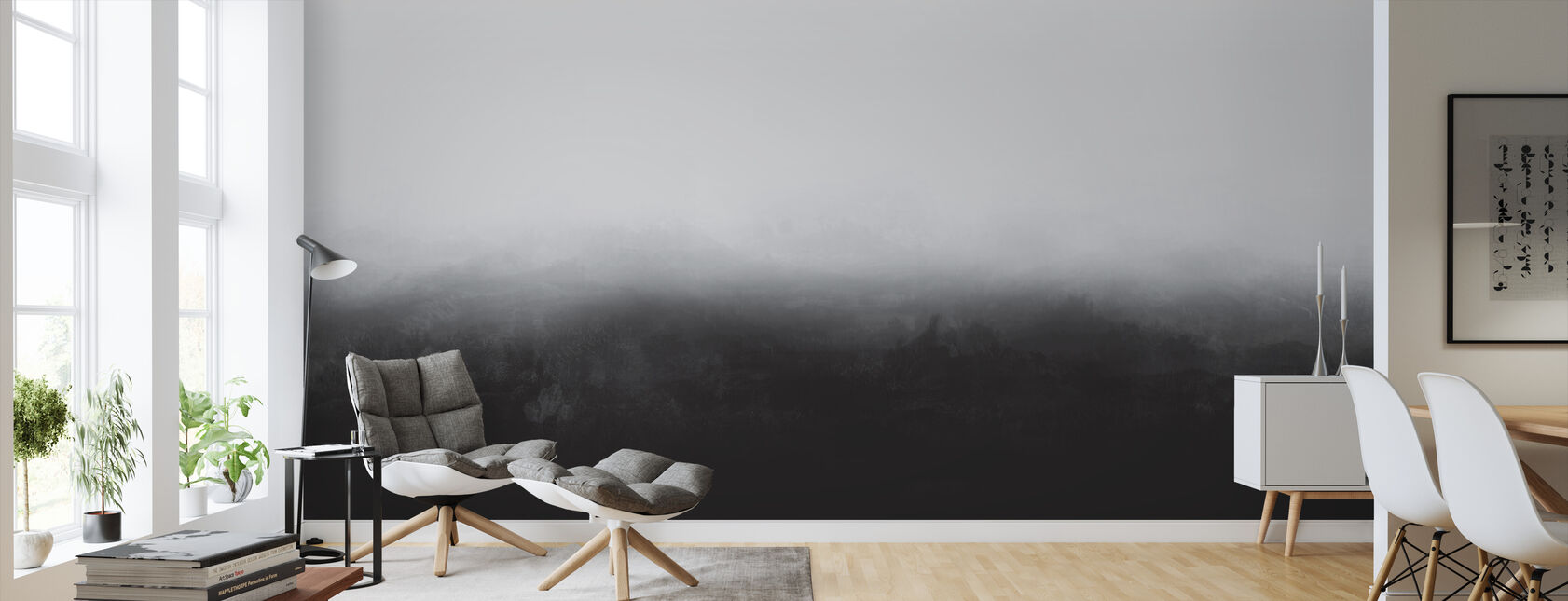 Black-and-white wall murals
