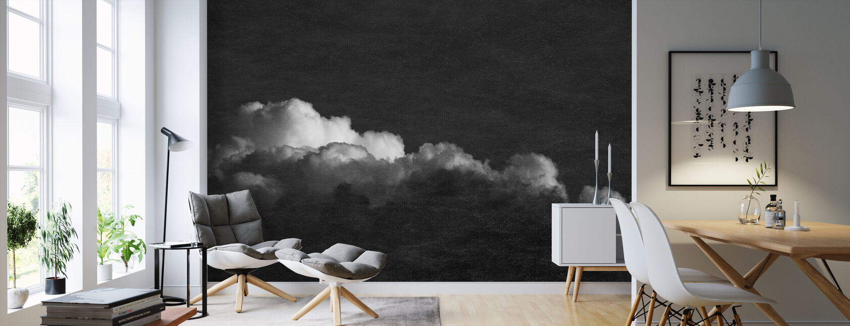 Gradient Cloud BW Filter - Wallpaper - Living Room