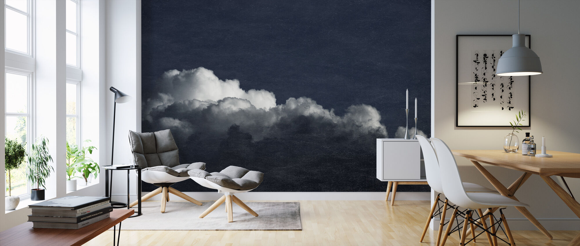 Gradient Cloud Dark Blue Filter - Wallpaper - Living Room