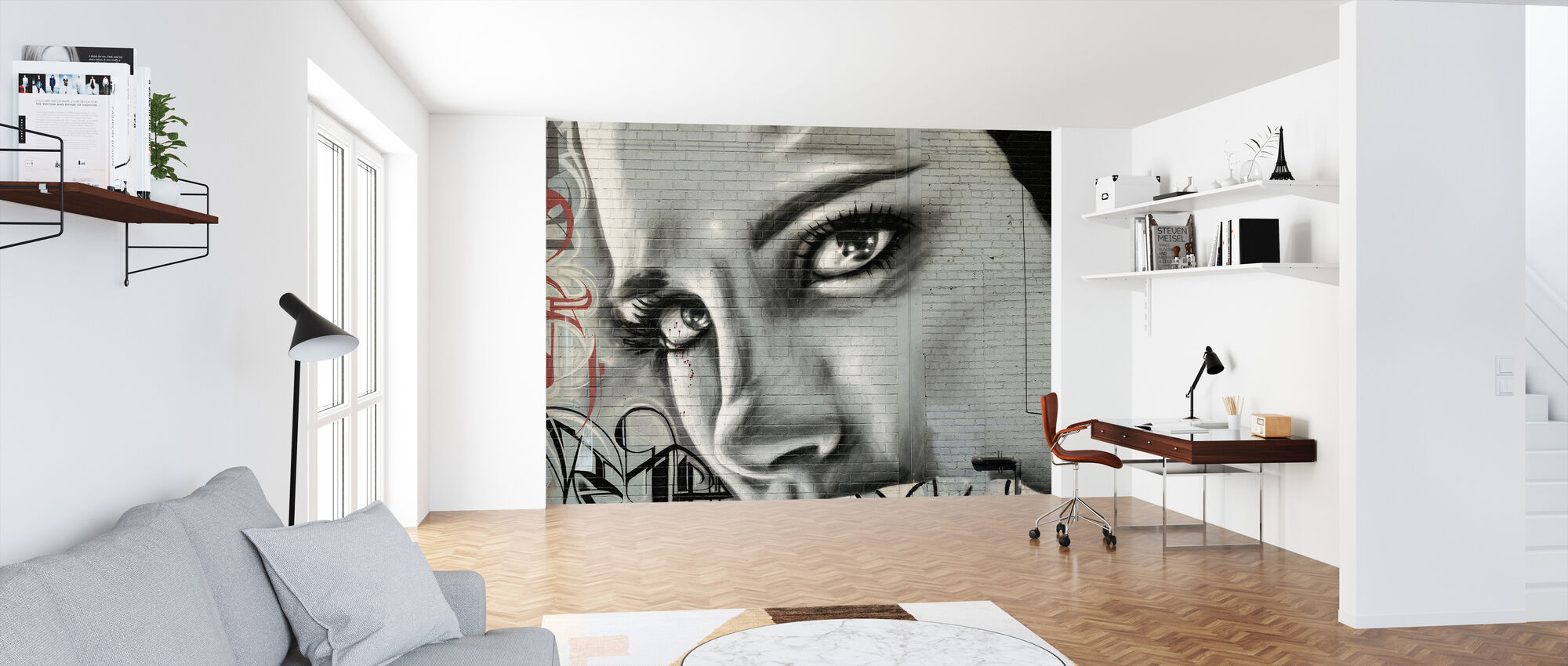 Woman's Face Graffiti Wall - Wallpaper - Office