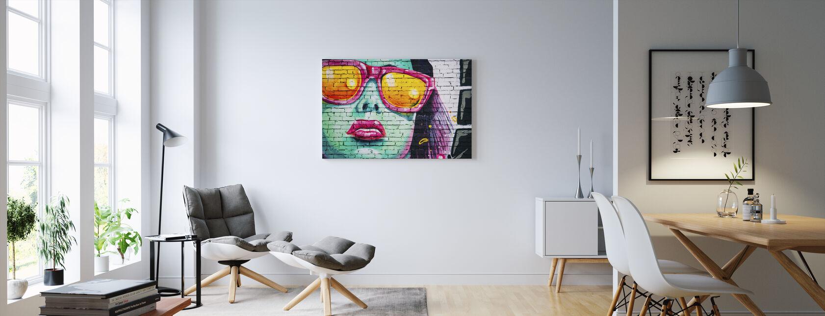 Farverige vægmaleri - Billede på lærred - Stue