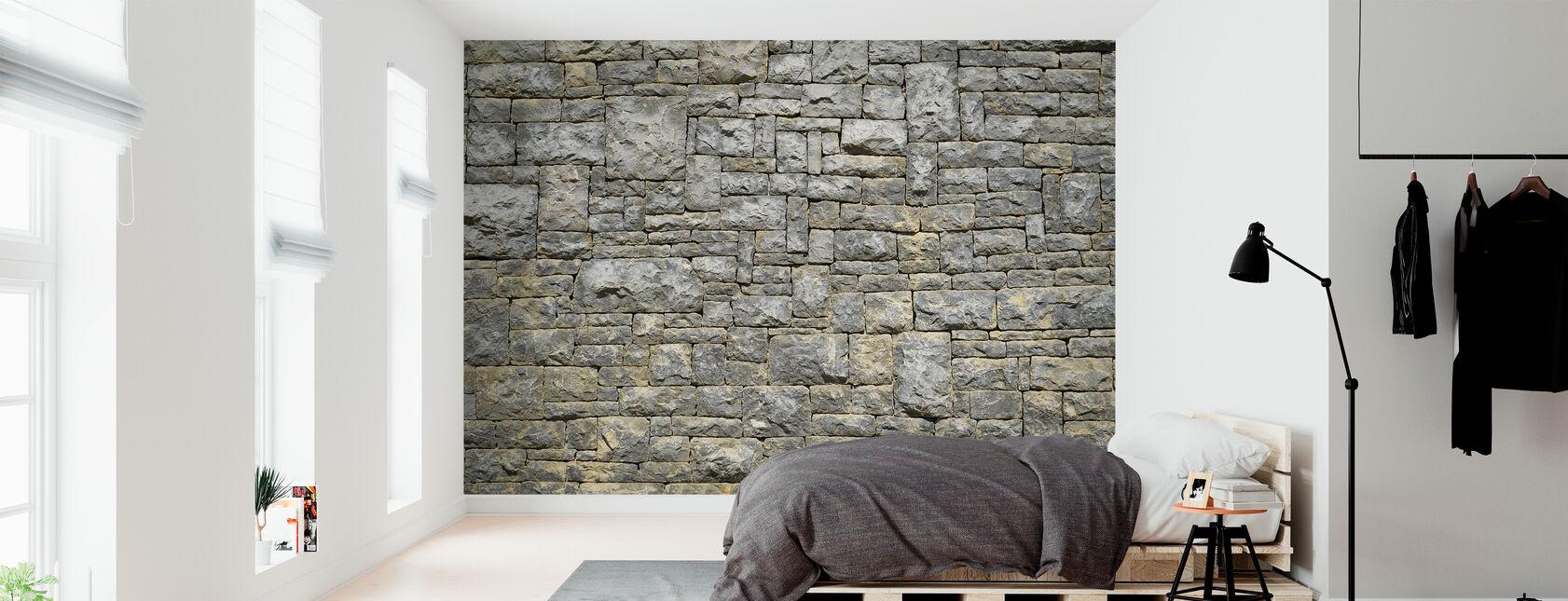 Granite Brick Wall - Wallpaper - Bedroom