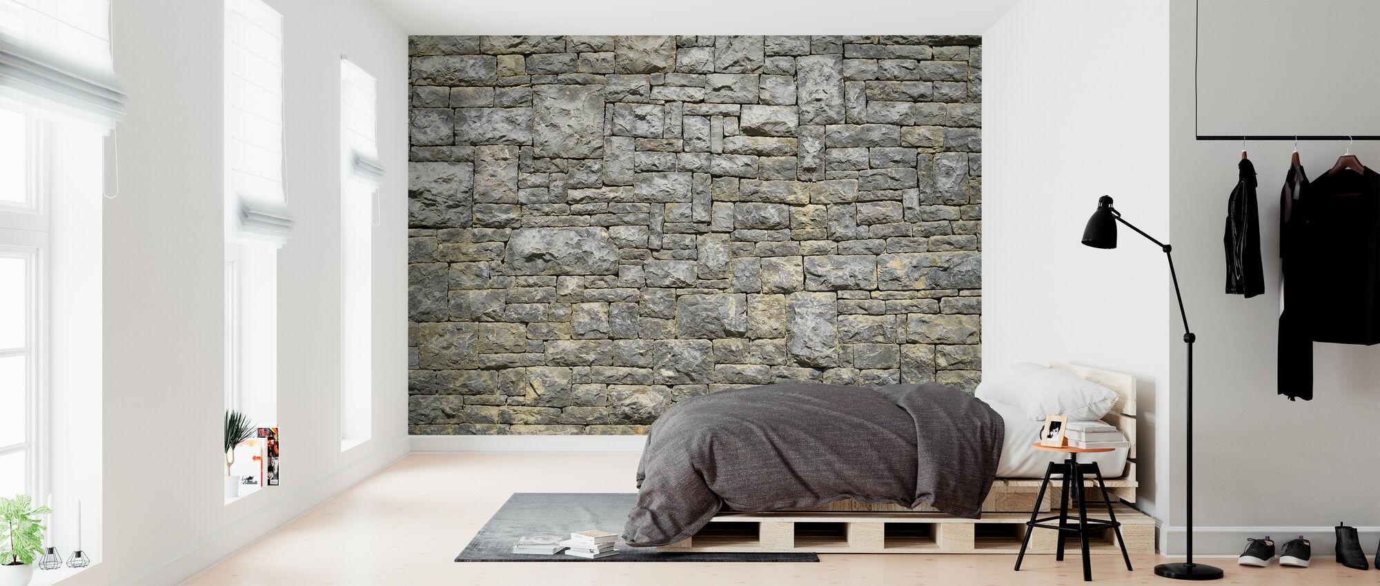 Mur z cegły granitowej - Tapeta - Sypialnia