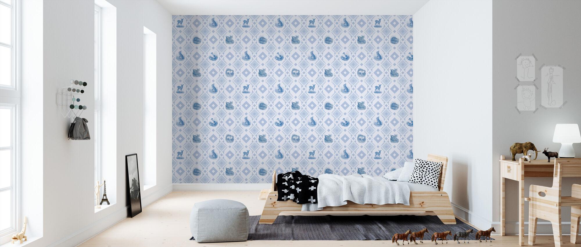 Cute Puppies Blue - Wallpaper - Kids Room