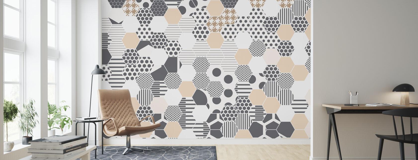 Bee Fabric - Wallpaper - Living Room