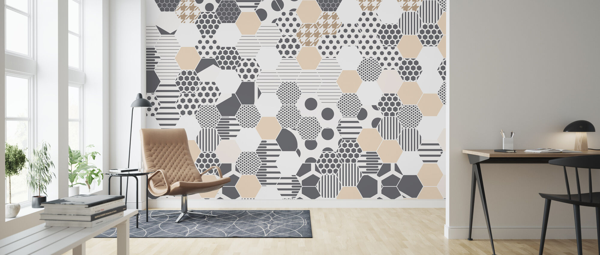 Bee Fabric - Wallpaper - Living Room