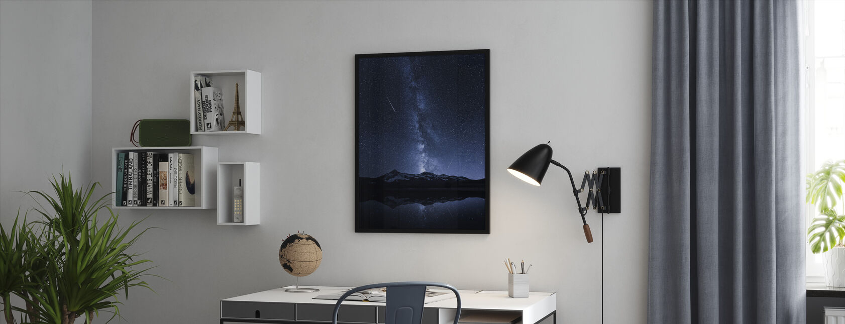 Galaxies Reflection - Framed print - Office