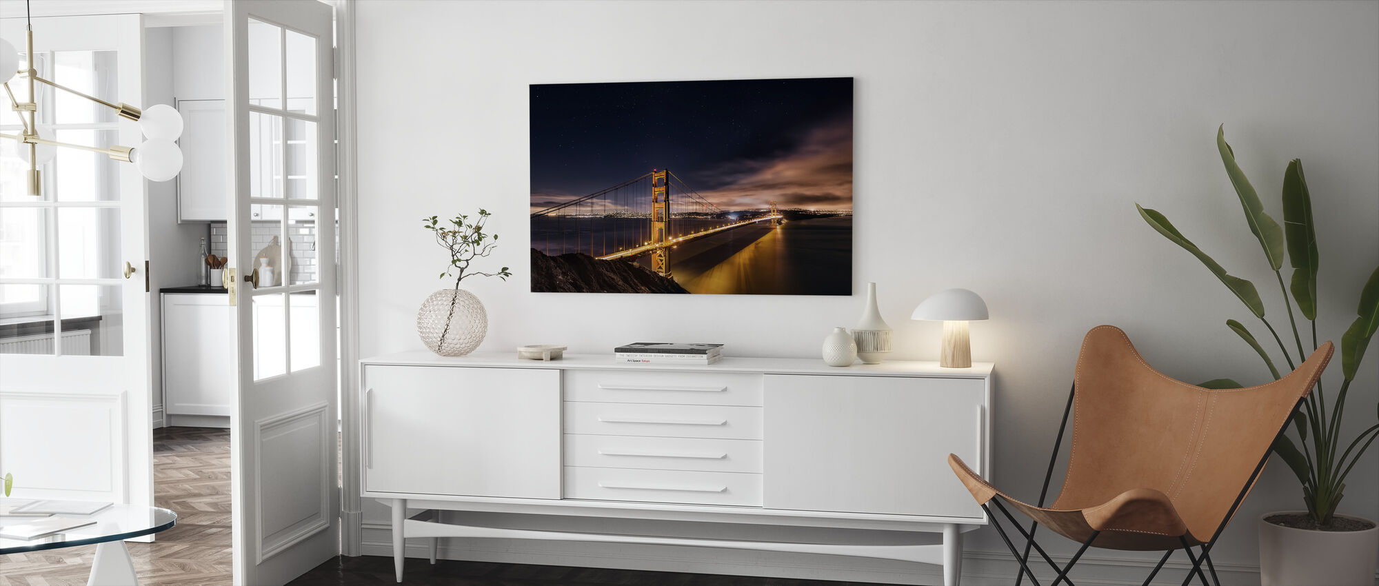 Golden Gate to Stars - Canvas print - Living Room