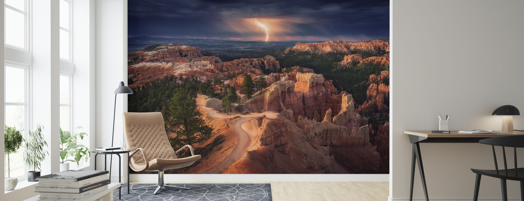 Bliksem over Bryce Canyon - Behang - Woonkamer