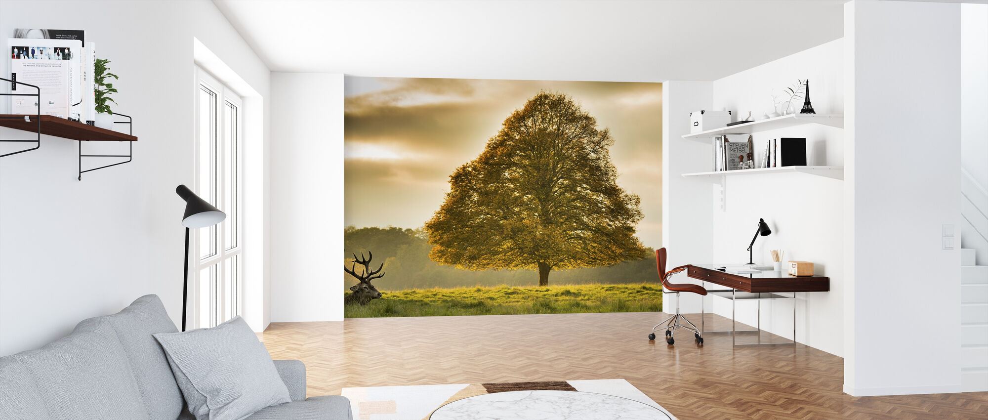 Deer and the Tree - Wallpaper - Office