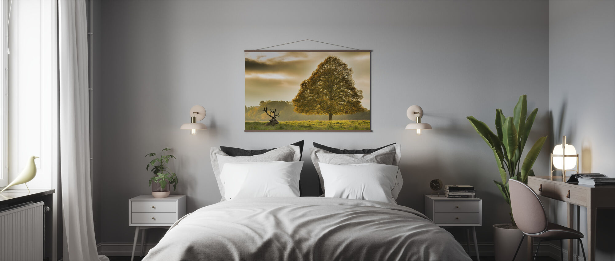 Deer and the Tree - Poster - Bedroom