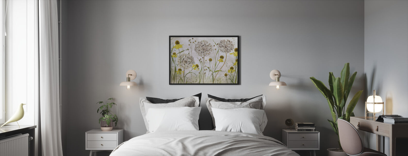 Alliums and Heleniums - Framed print - Bedroom