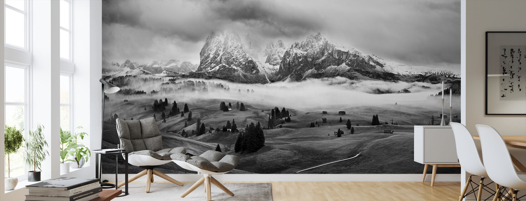 Mgliste Dolomity - Tapeta - Pokój dzienny