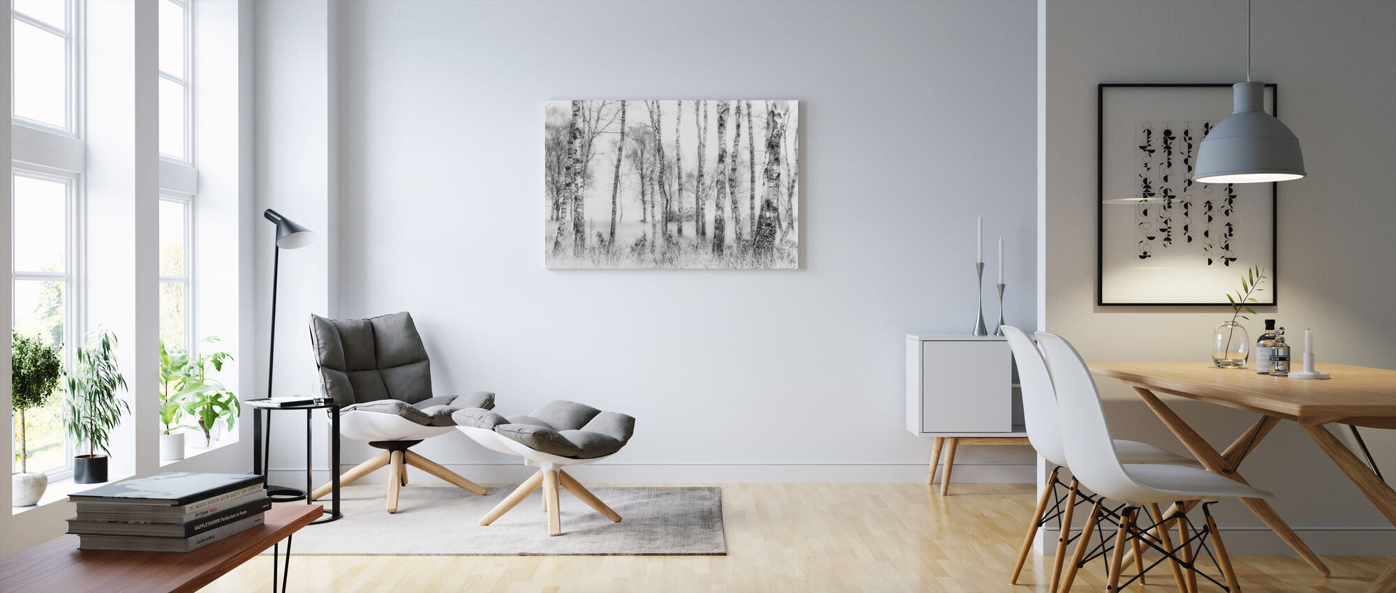 Mustavalkoinen - Canvastaulu - Olohuone