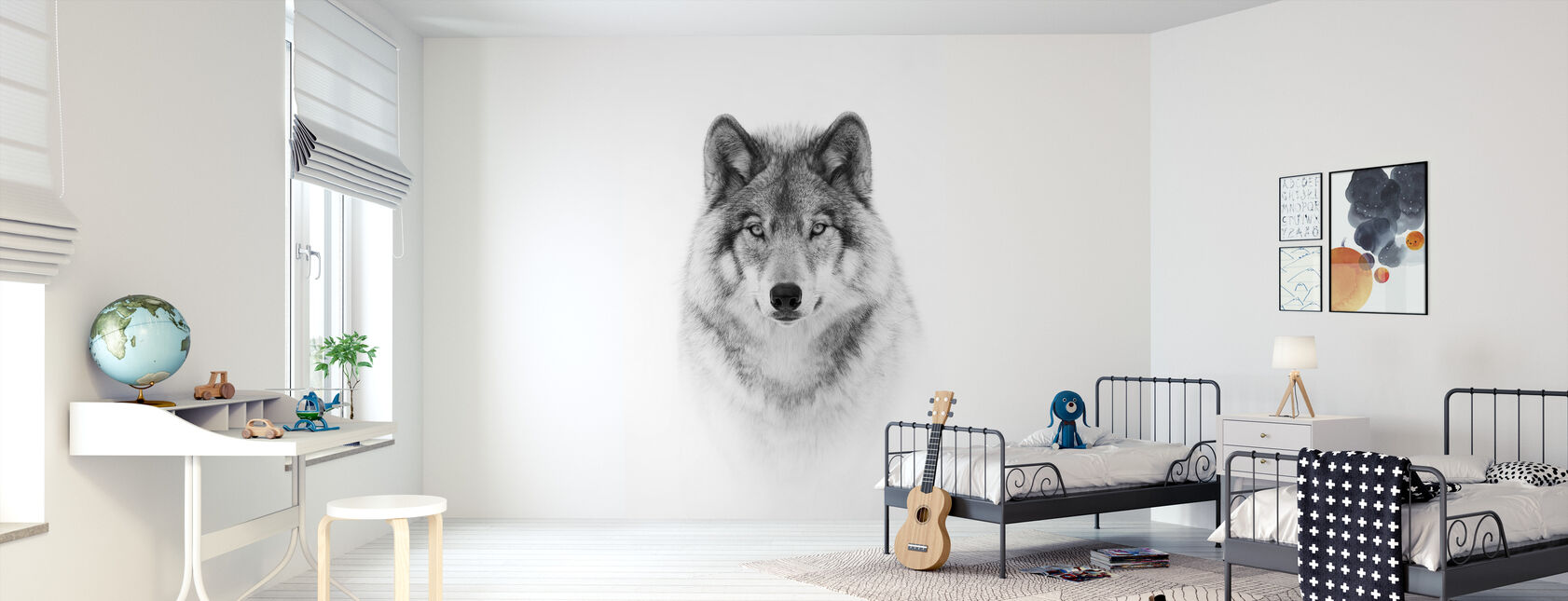 Portrait of a Timber Wolf - Wallpaper - Kids Room