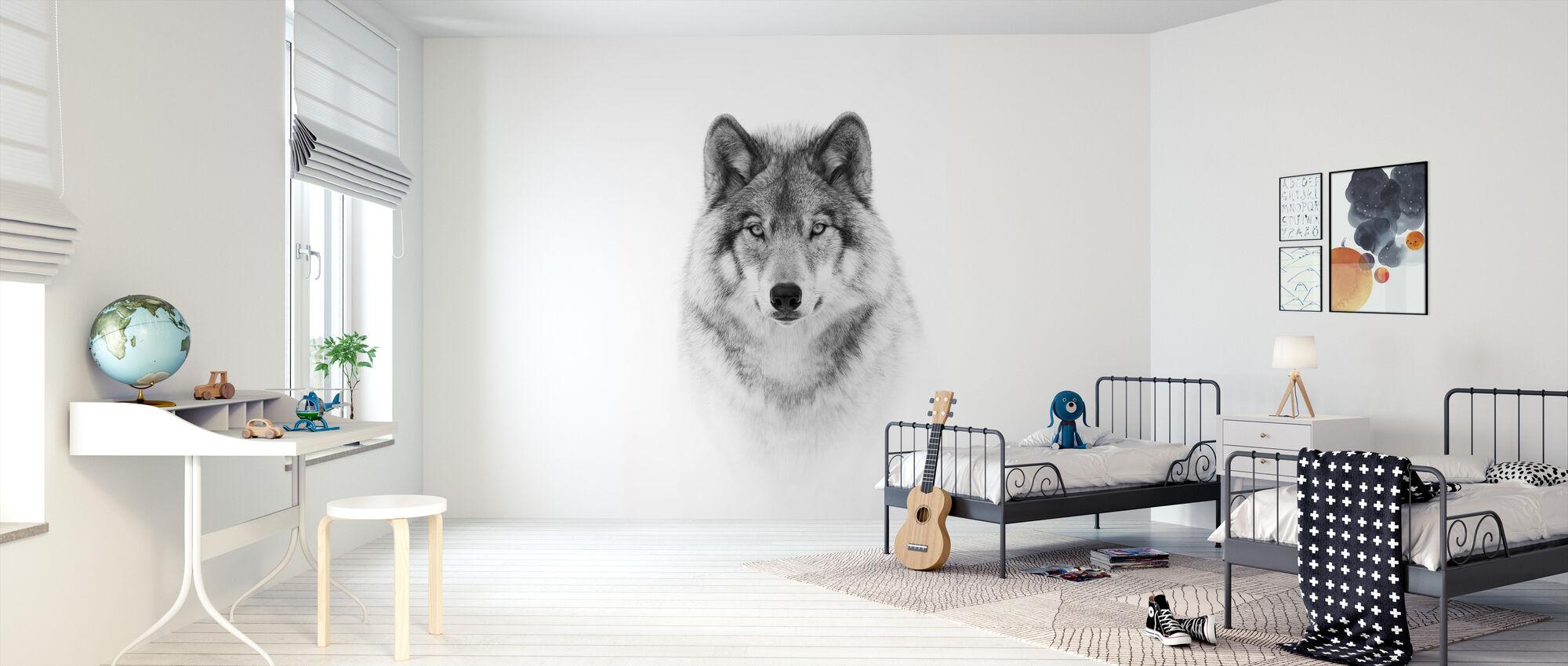 Portret van een houtwolf - Behang - Kinderkamer