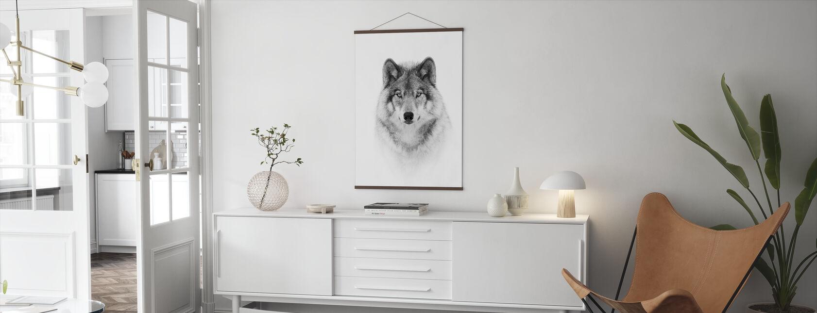 Portret van een houtwolf - Poster - Woonkamer
