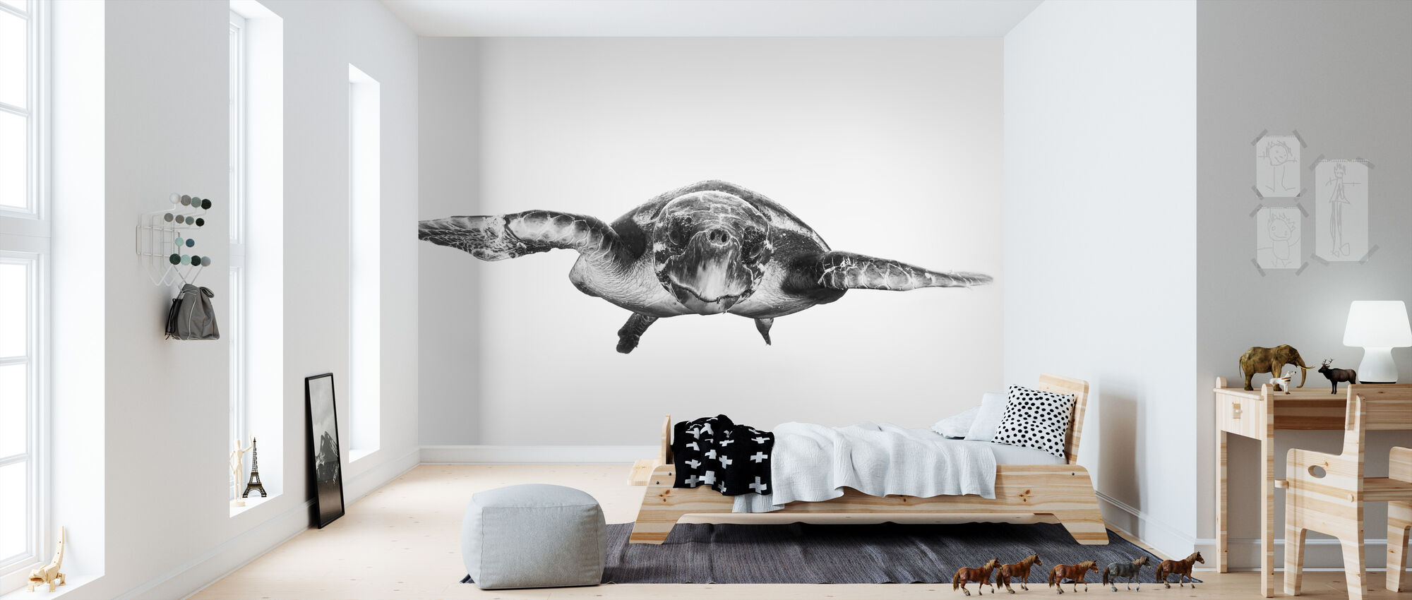 White and Turtle - Wallpaper - Kids Room