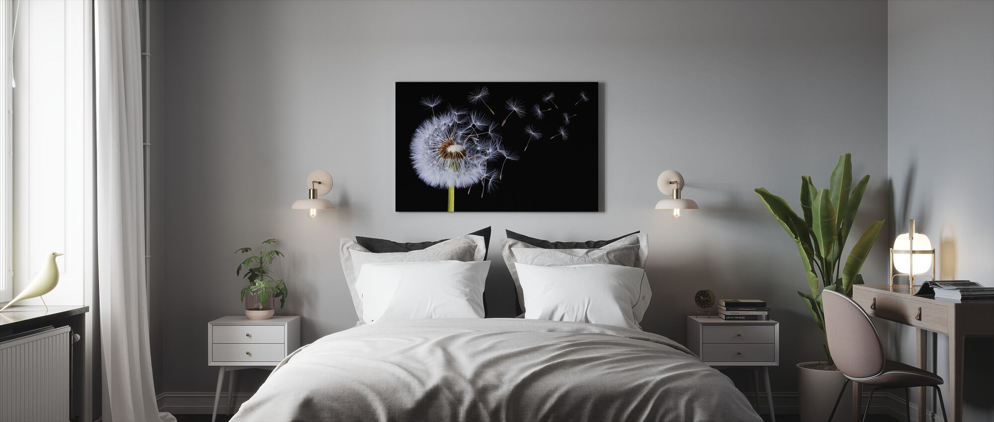 Dandelion Blowing - Canvas print - Bedroom