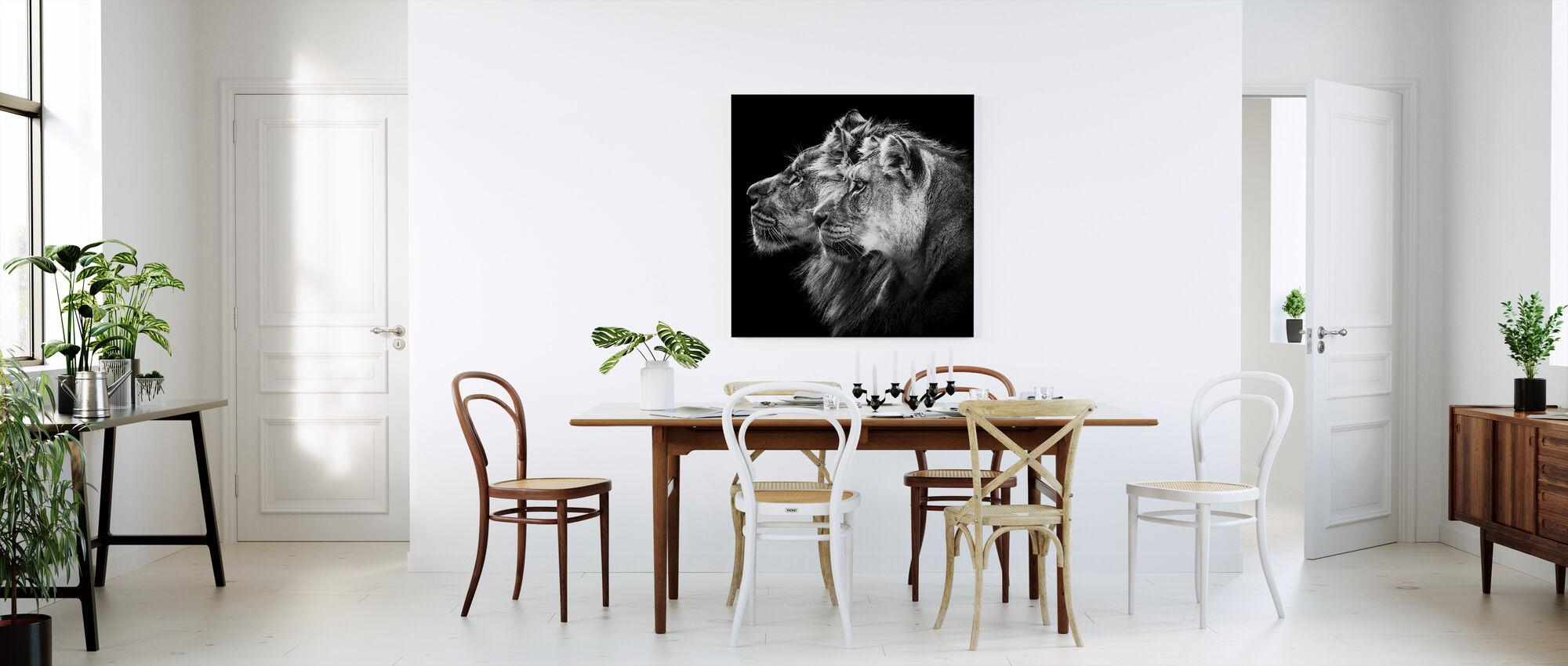 Lion and Lioness Portrait - Canvas print - Kitchen