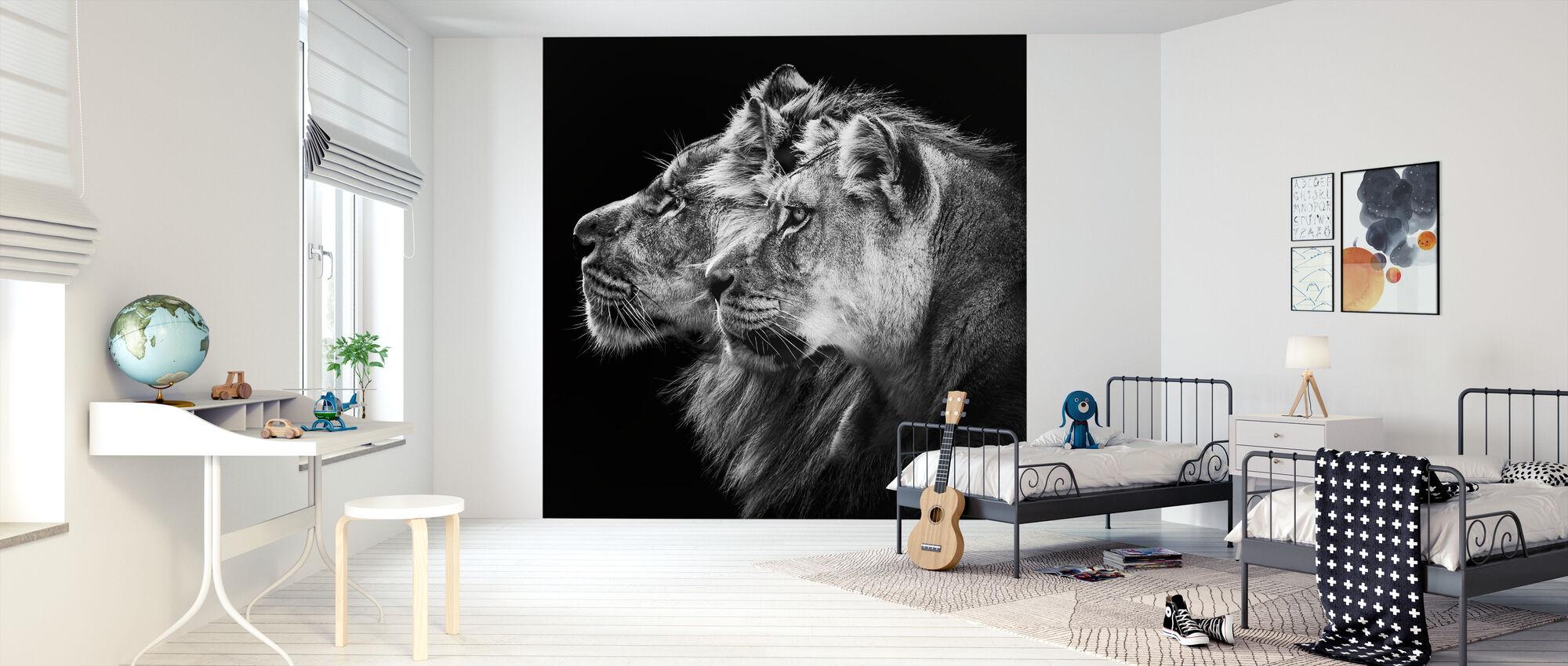Leijona ja naarasleijona Muotokuva - Tapetti - Lastenhuone