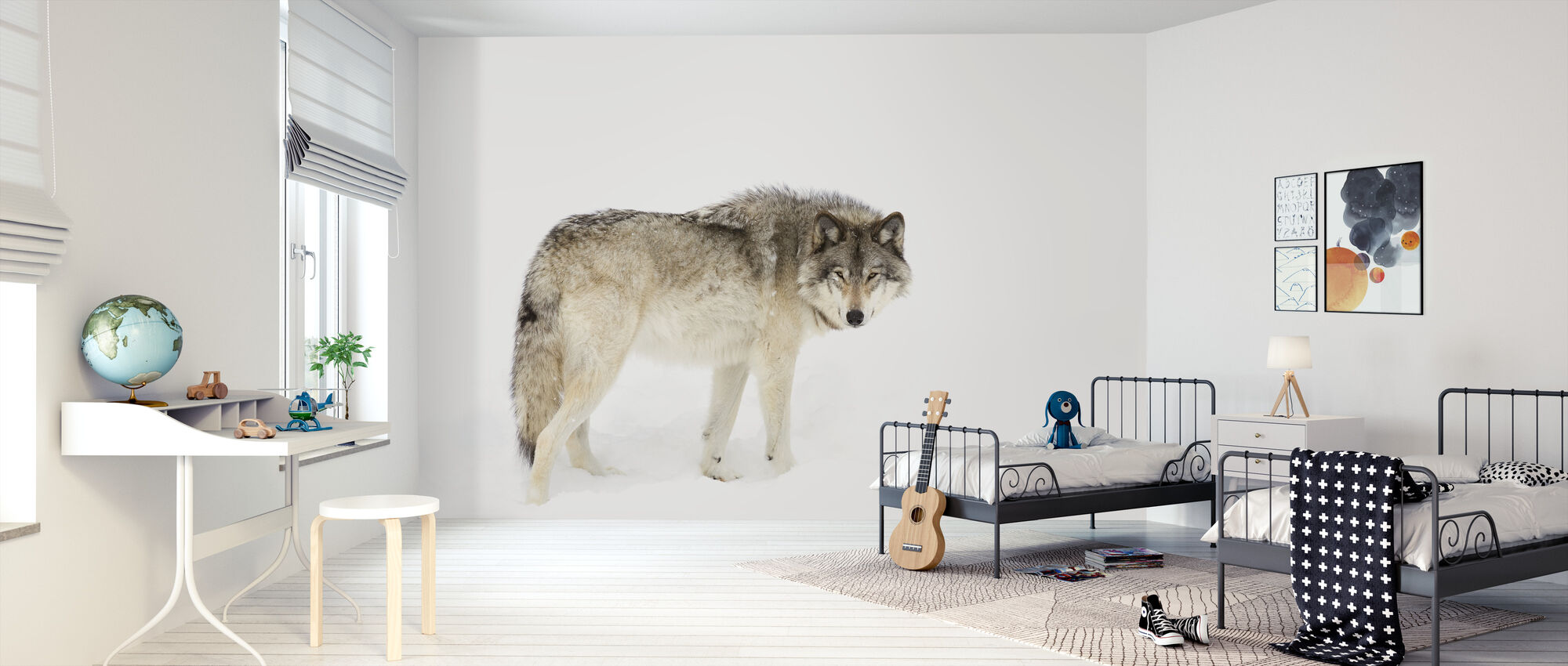 Canadian Timber Wolf Walking Through The Snow - Wallpaper - Kids Room