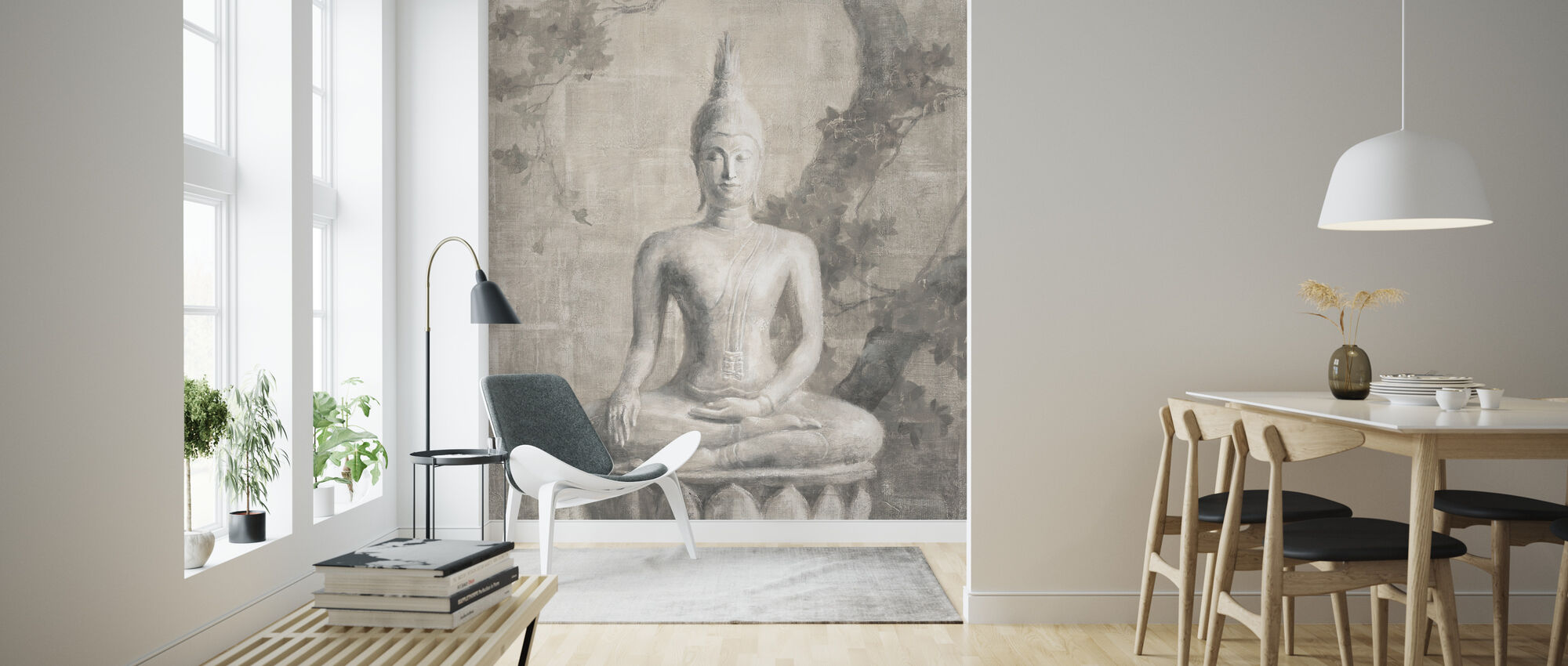 Buddha Neutral Crop - Wallpaper - Living Room