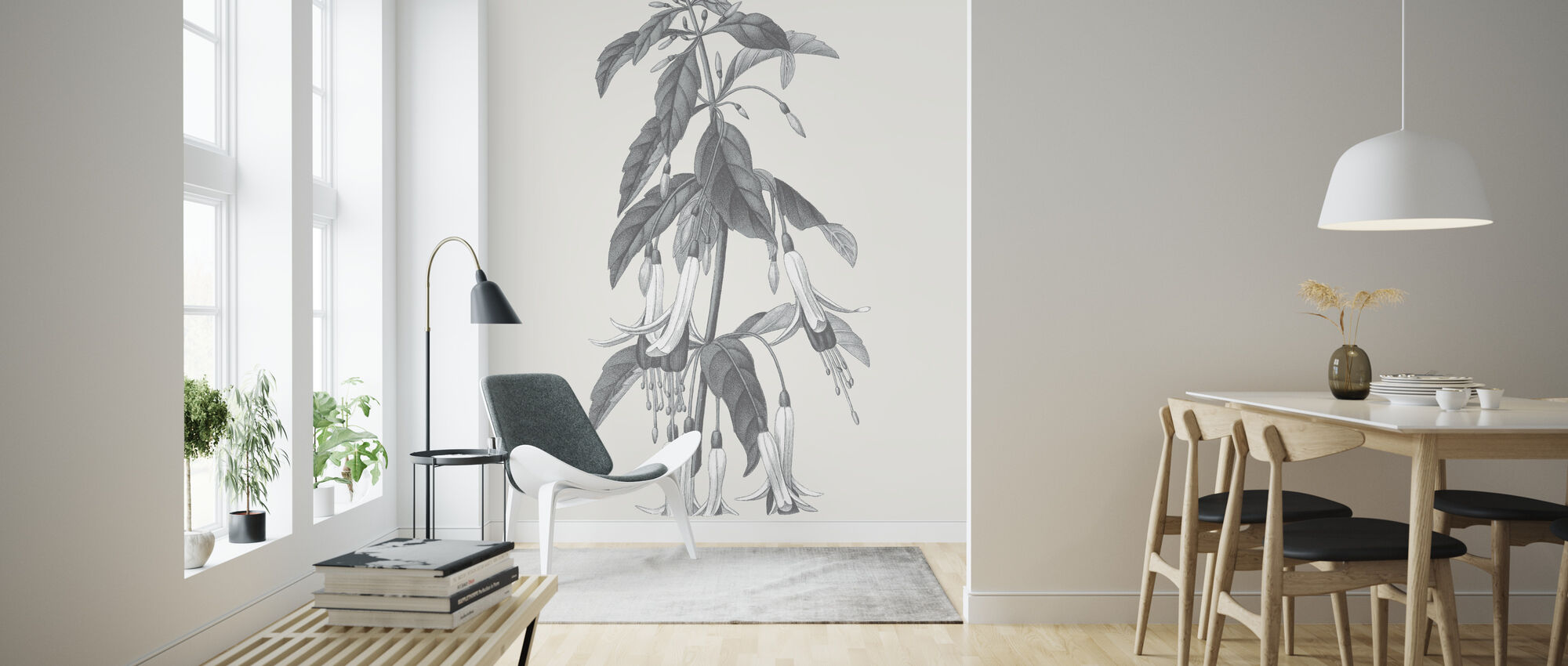 Neutral Botanical I - Wallpaper - Living Room