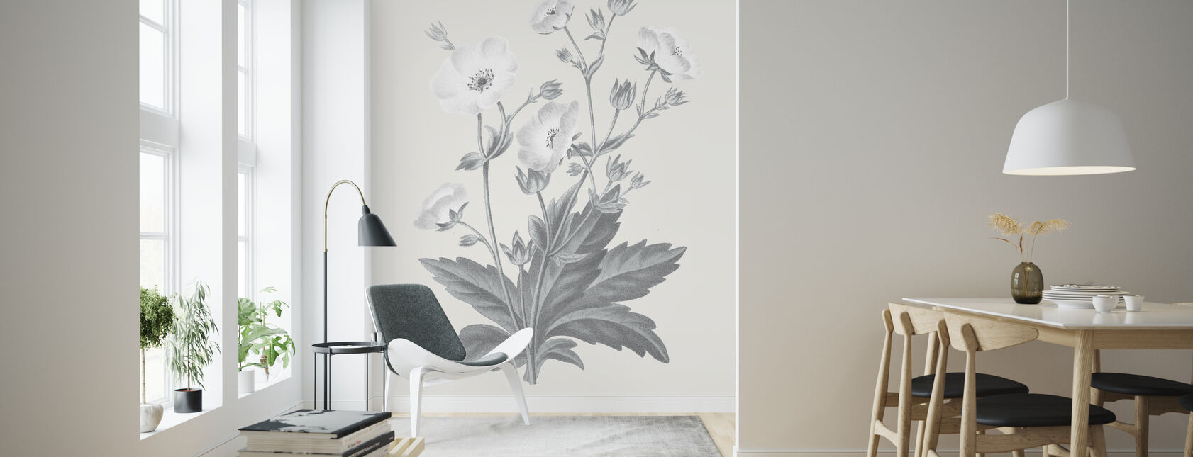 Neutral Botanical VI - Wallpaper - Living Room
