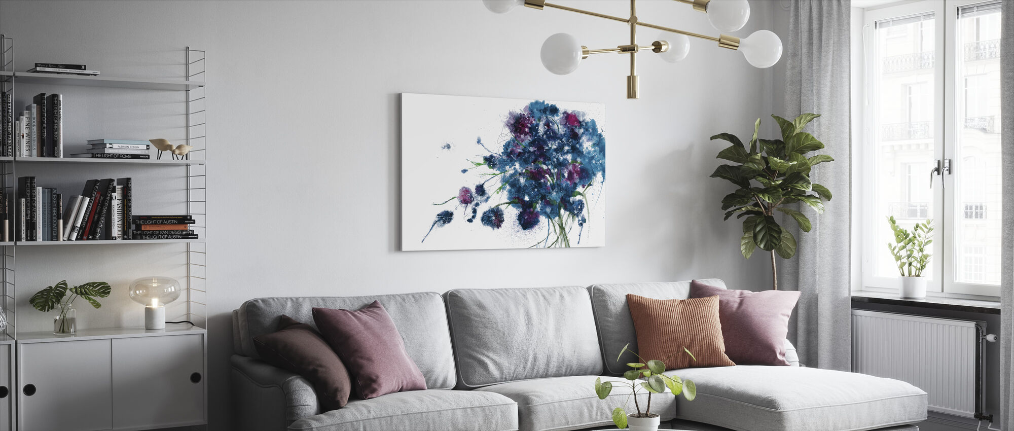 Blue Bouquet - Canvas print - Living Room