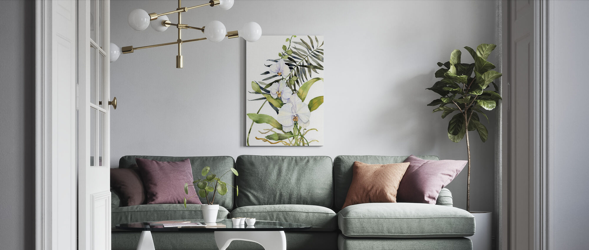 Botanical Phalaenopsis Crop - Canvas print - Living Room