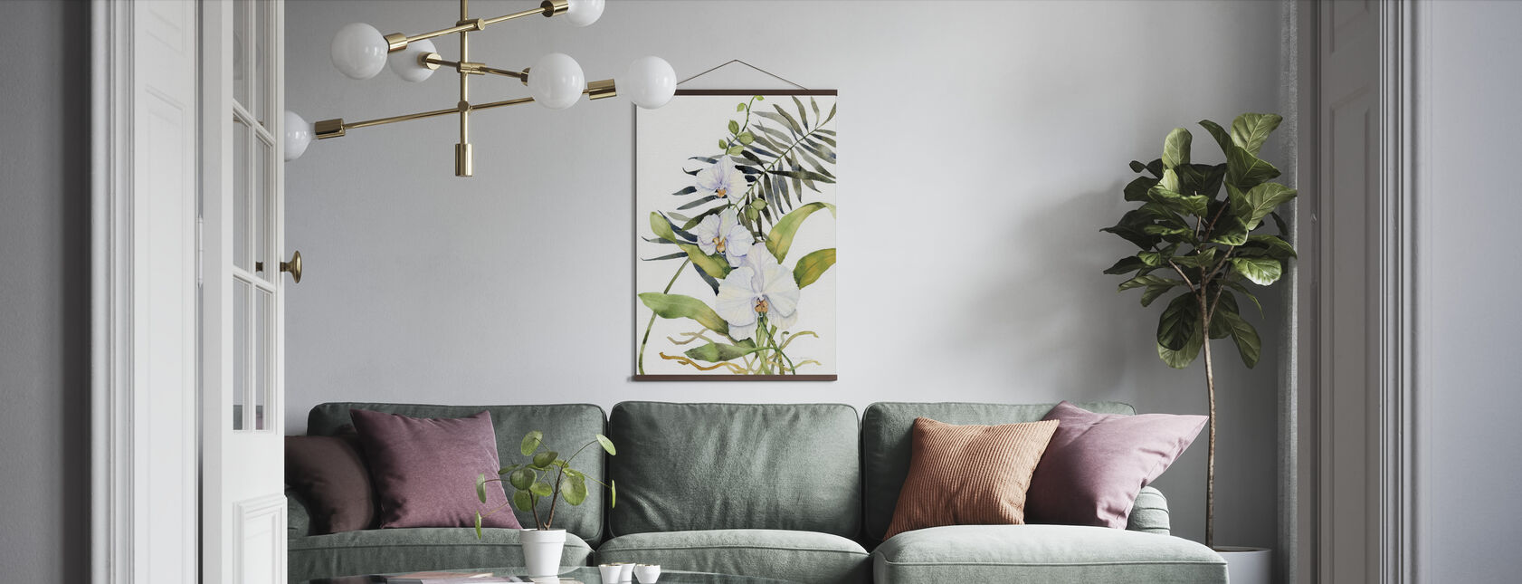 Botanical Phalaenopsis Crop - Poster - Living Room