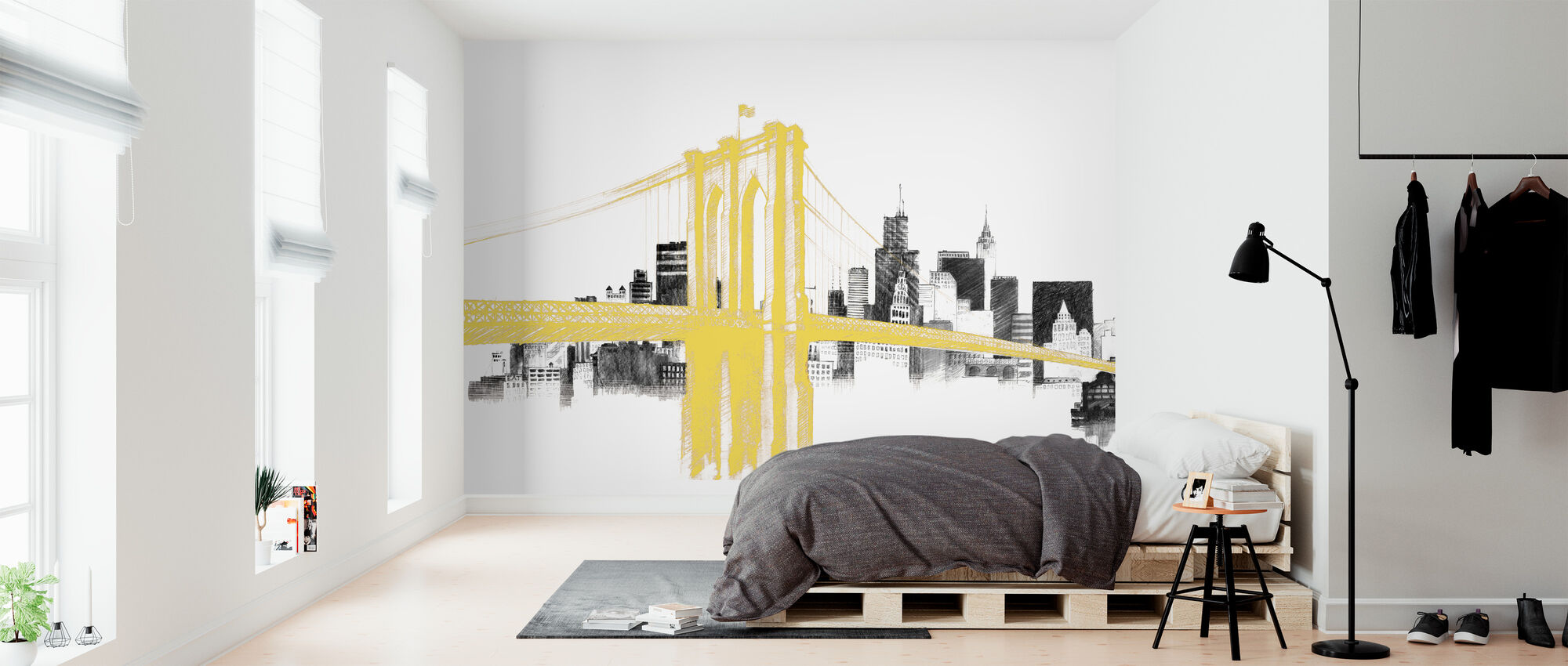 Skyline Crossing Yellow - Wallpaper - Bedroom