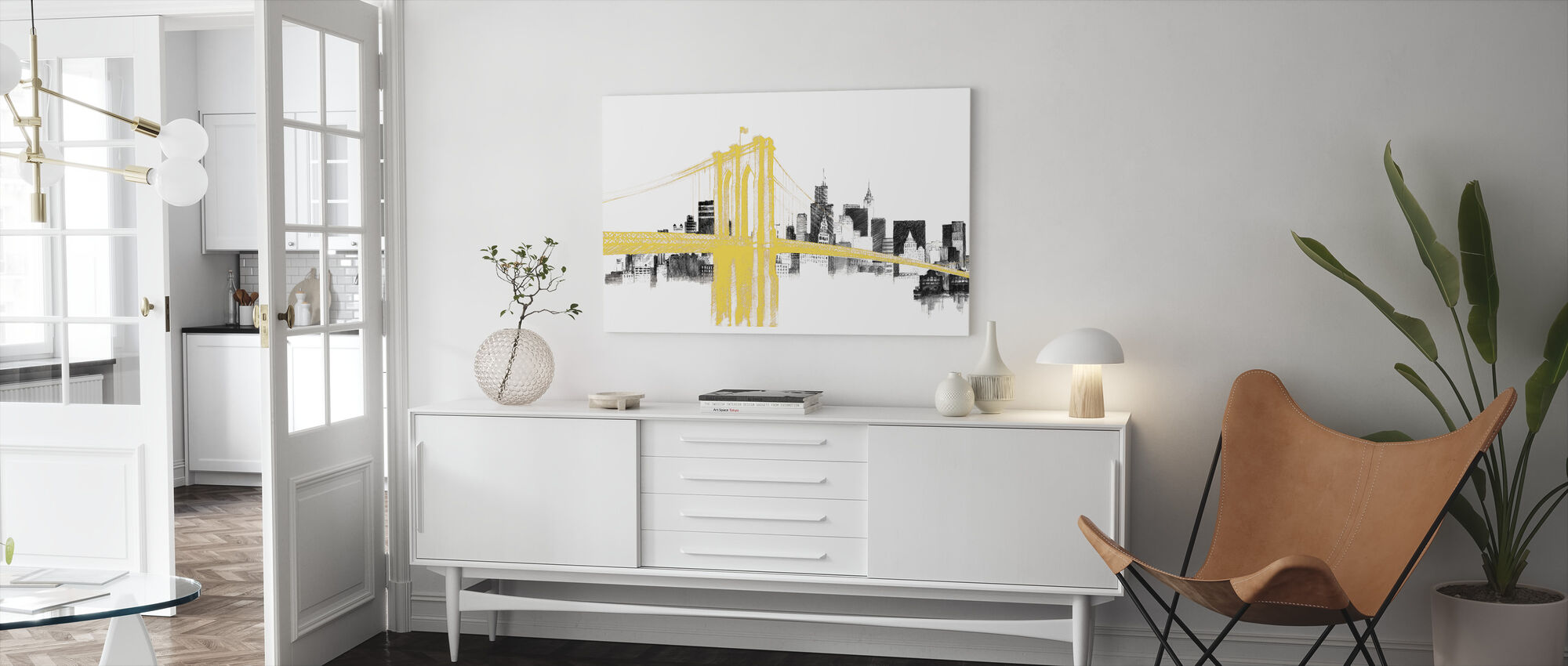 Skyline Crossing Yellow - Canvas print - Living Room