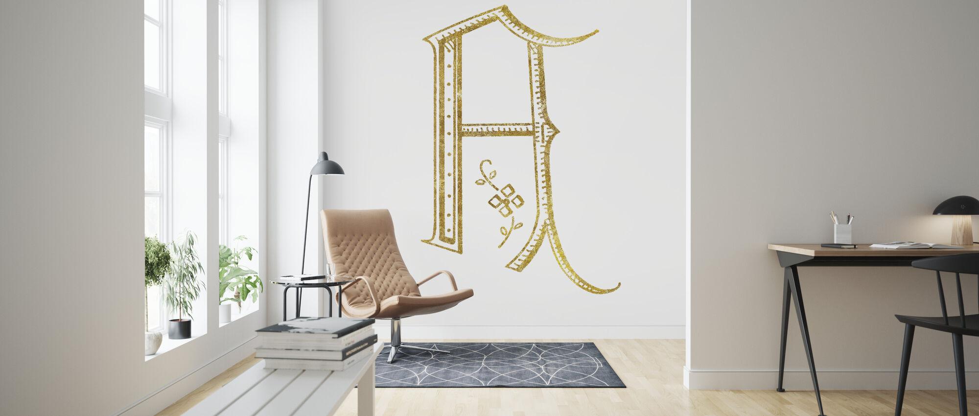 Französischer Nähbuchstabe A - Tapete - Wohnzimmer