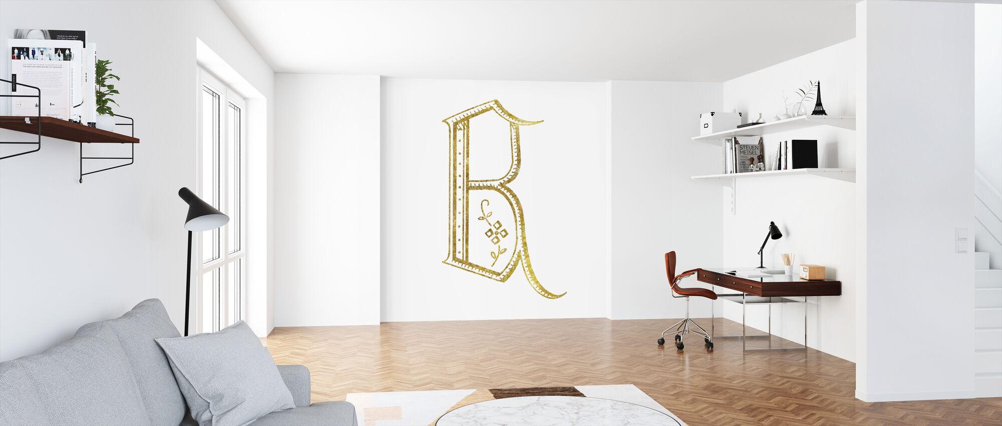 Französischer Nähbuchstabe B - Tapete - Büro