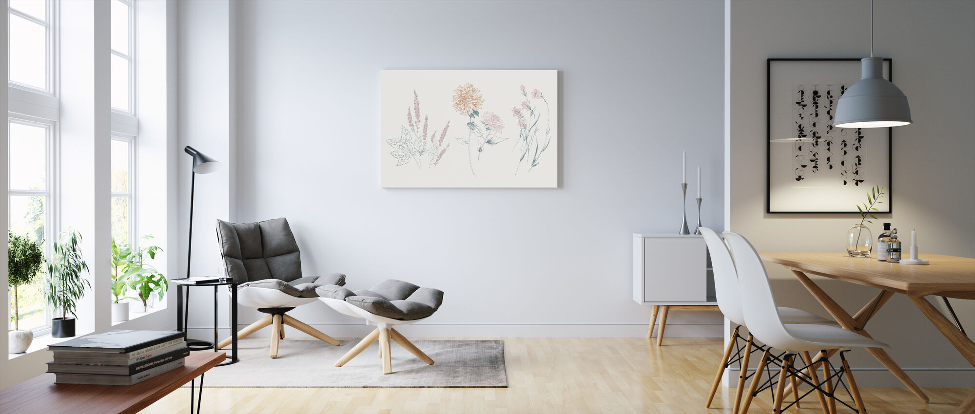 Flowers on White VIII Contemporary - Canvas print - Living Room