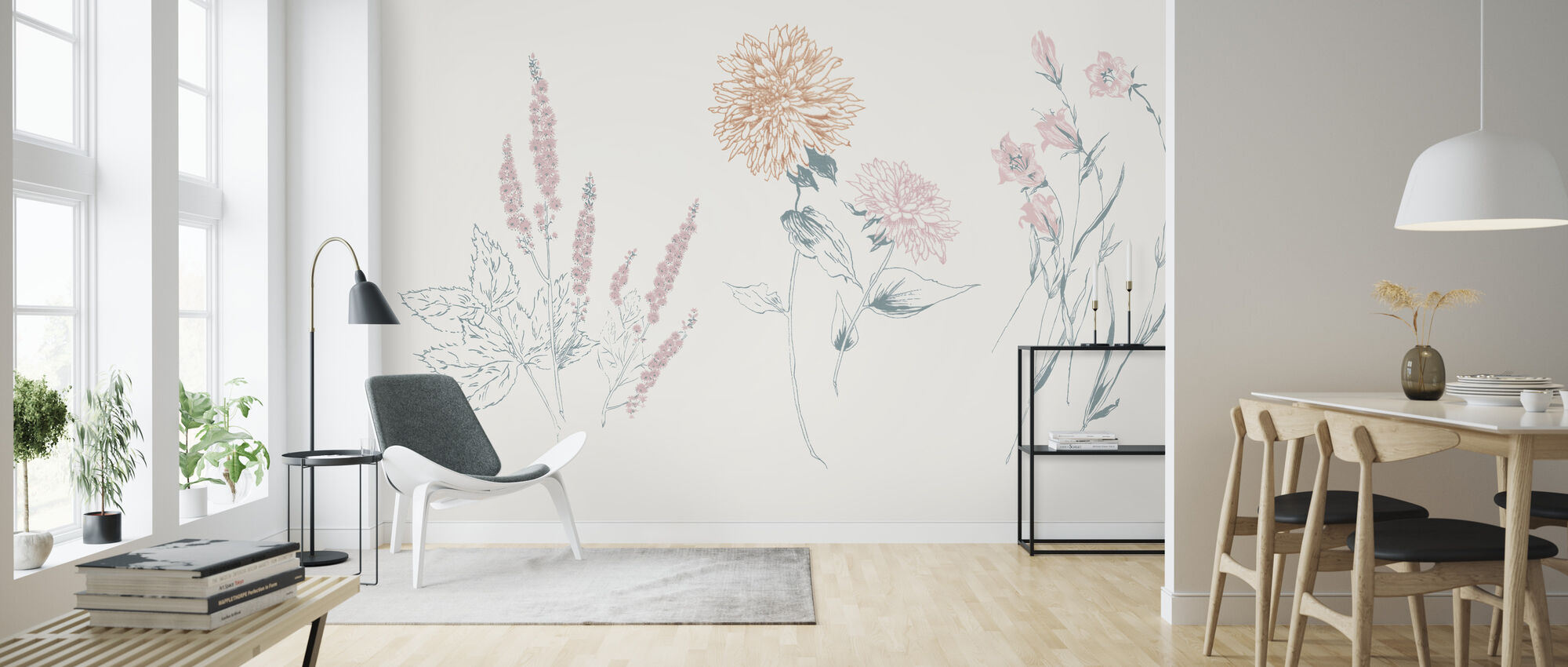 Flowers on White VIII Contemporary - Wallpaper - Living Room