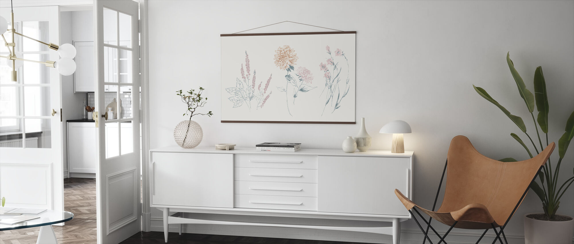 Flowers on White VIII Contemporary - Poster - Living Room