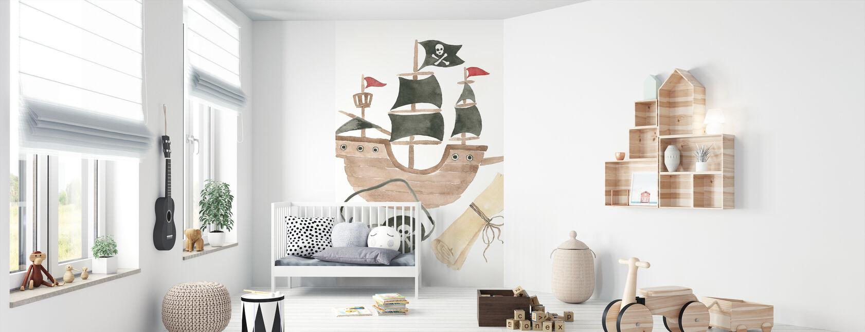 Merirosvot IV valkoisella - Tapetti - Vauvan huone