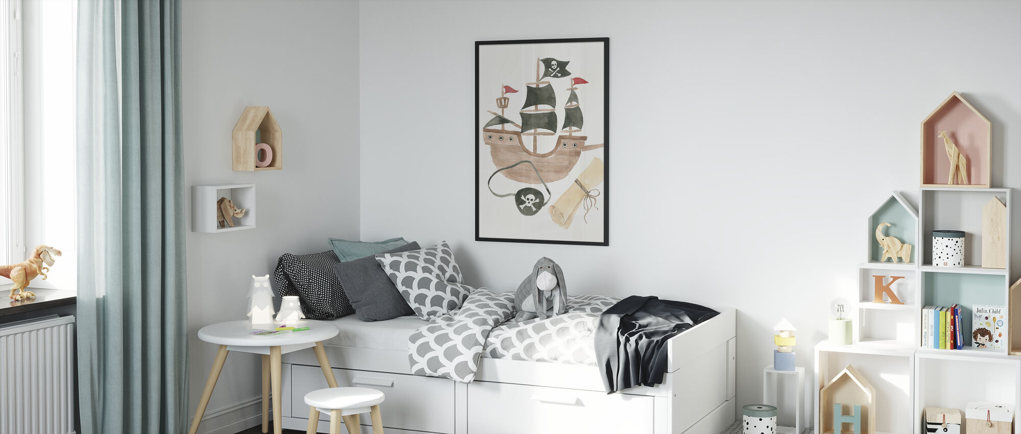 Pirates IV on White - Framed print - Kids Room