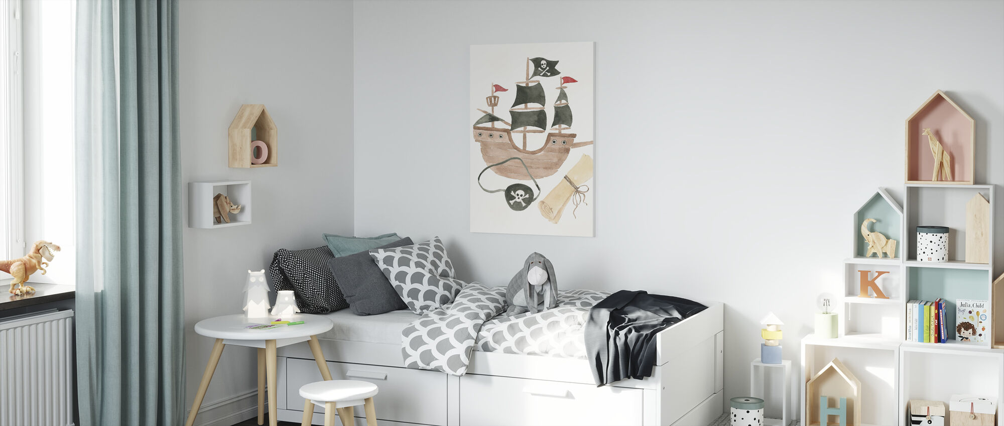 Pirates IV on White - Canvas print - Kids Room