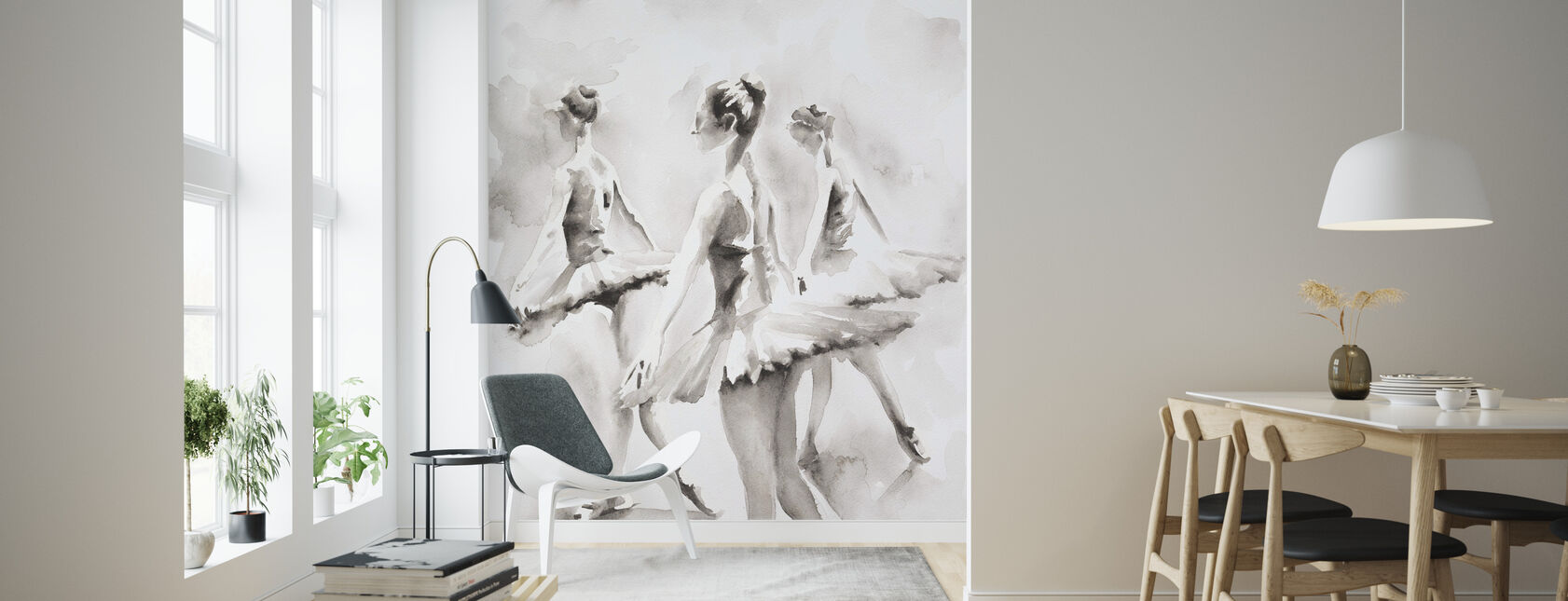 Three Ballerinas - Wallpaper - Living Room