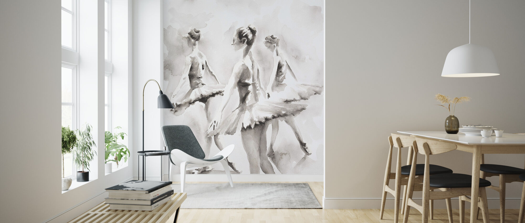 Three Ballerinas - Wallpaper - Living Room