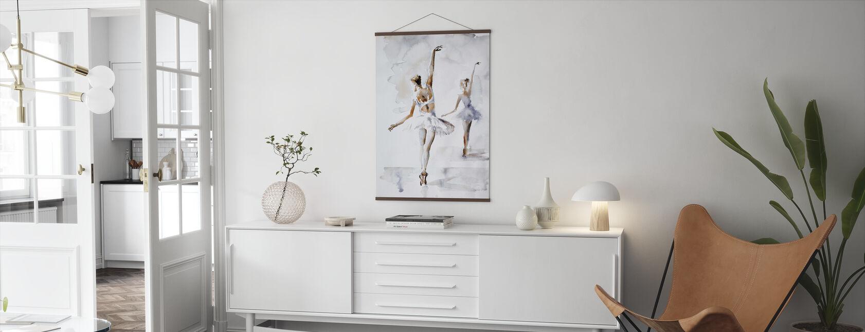Ballerina In Blauw - Poster - Woonkamer