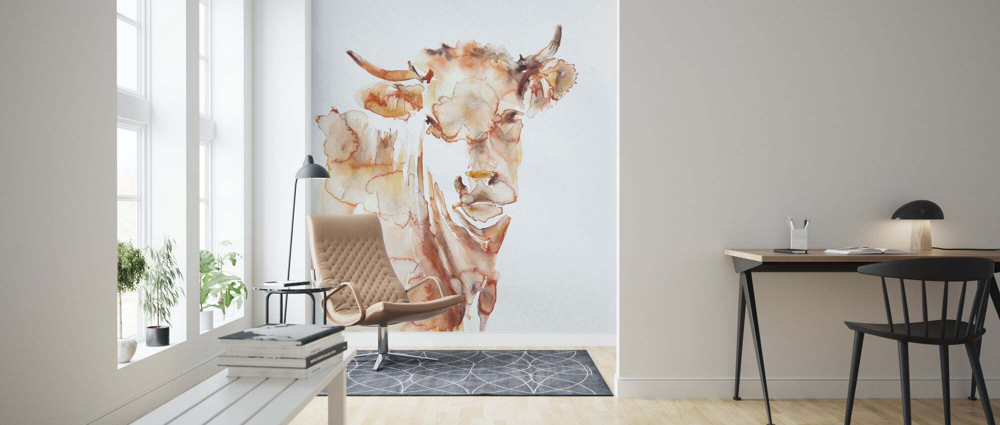Village Cow - Wallpaper - Living Room