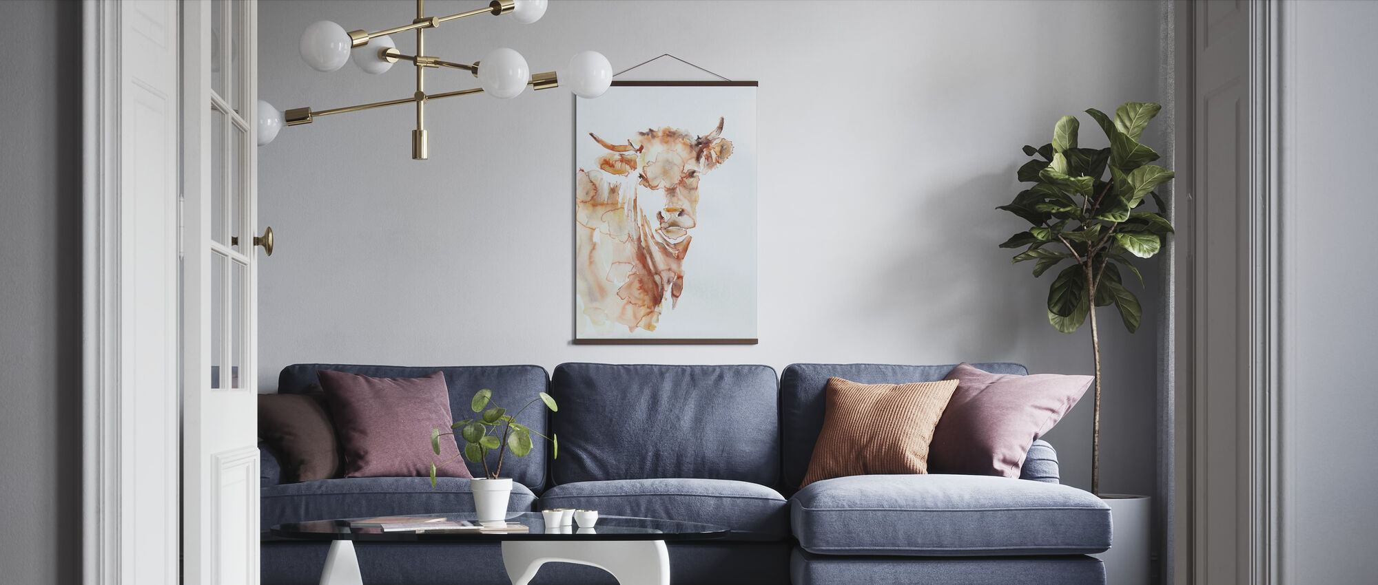 Village Cow - Poster - Living Room