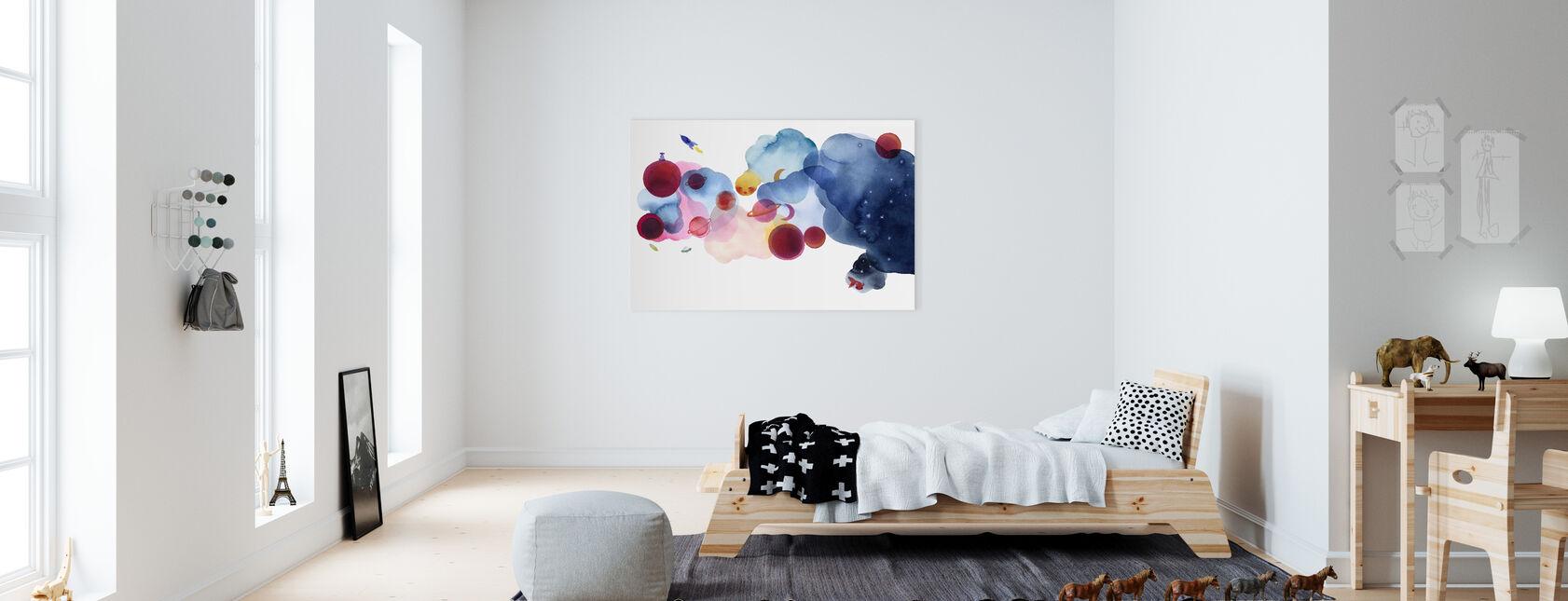 Vattenfärg Space I - Canvastavla - Barnrum