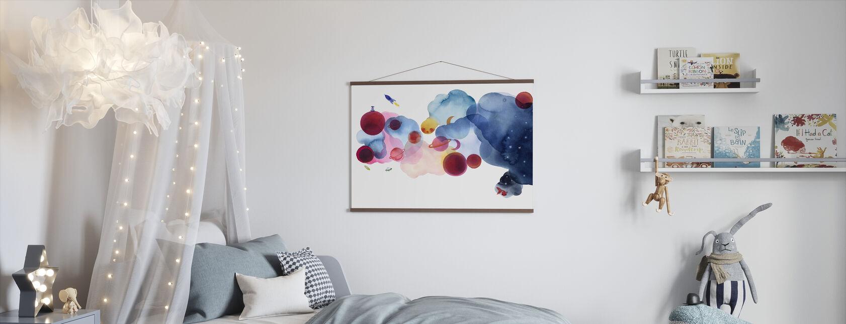 Vattenfärg Space I - Poster - Barnrum