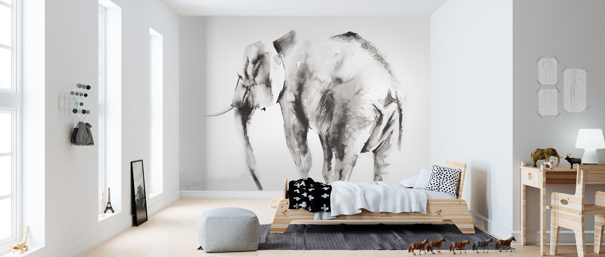 Lone Elephant Gray Crop - Wallpaper - Kids Room